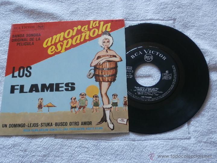 LOS FLAMES 7´EP UN DOMINGO + 3 TEMAS (1966) B.S.PELICULA AMOR A LA ESPAÑOLA *MUY BUEN ESTADO* (Música - Discos de Vinilo - EPs - Grupos Españoles 50 y 60)