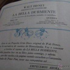 Discos de vinilo: CUENTO Y DISCO LA BELLA DURMIENTE. Lote 44016136