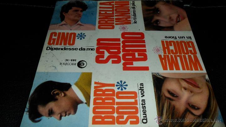 BOBBY SOLO, ORNELLA VANONI, WILMA GOICH, GINO , EP FESTIVAL DE SAN REMO 1966 (Música - Discos de Vinilo - EPs - Otros Festivales de la Canción)