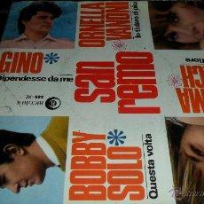 Discos de vinilo: BOBBY SOLO, ORNELLA VANONI, WILMA GOICH, GINO , EP FESTIVAL DE SAN REMO 1966. Lote 44032193