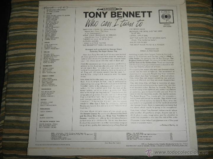 Discos de vinilo: TONY BENNETT - WHO CAN I TURN TO LP - ORIGINAL INGLES CBS 1965 STEREO - MUY NUEVO (5) - Foto 2 - 44054168
