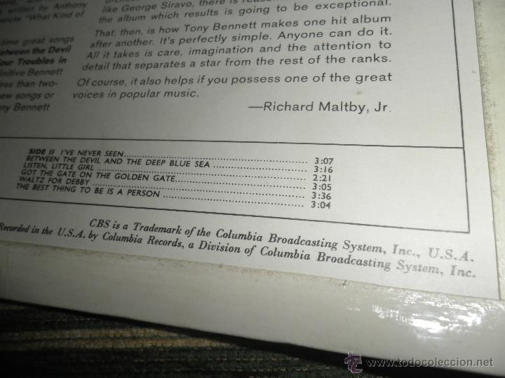 Discos de vinilo: TONY BENNETT - WHO CAN I TURN TO LP - ORIGINAL INGLES CBS 1965 STEREO - MUY NUEVO (5) - Foto 5 - 44054168