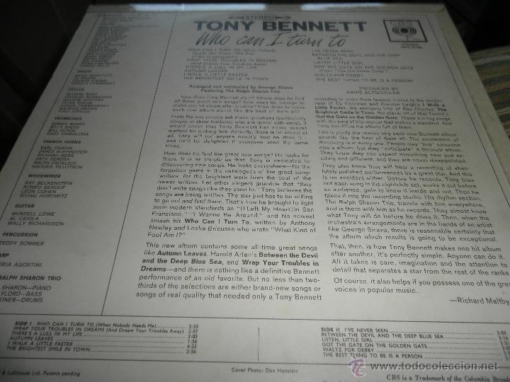 Discos de vinilo: TONY BENNETT - WHO CAN I TURN TO LP - ORIGINAL INGLES CBS 1965 STEREO - MUY NUEVO (5) - Foto 9 - 44054168