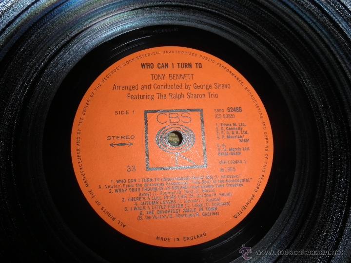 Discos de vinilo: TONY BENNETT - WHO CAN I TURN TO LP - ORIGINAL INGLES CBS 1965 STEREO - MUY NUEVO (5) - Foto 14 - 44054168