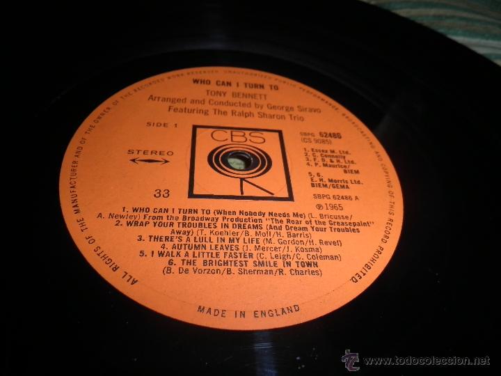 Discos de vinilo: TONY BENNETT - WHO CAN I TURN TO LP - ORIGINAL INGLES CBS 1965 STEREO - MUY NUEVO (5) - Foto 16 - 44054168