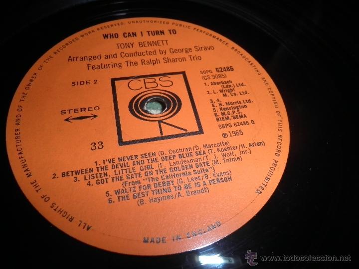 Discos de vinilo: TONY BENNETT - WHO CAN I TURN TO LP - ORIGINAL INGLES CBS 1965 STEREO - MUY NUEVO (5) - Foto 21 - 44054168