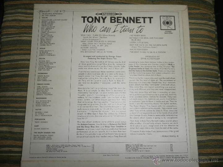 Discos de vinilo: TONY BENNETT - WHO CAN I TURN TO LP - ORIGINAL INGLES CBS 1965 STEREO - MUY NUEVO (5) - Foto 24 - 44054168