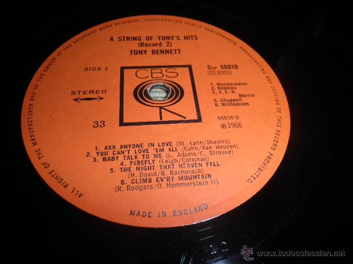 Discos de vinilo: TONY BENNETT - A STRING OF TONY´S HITS DOBLE LP - ORIGINAL INGLES CBS1966 STEREO - GATEFOLD COVER - - Foto 16 - 44054421