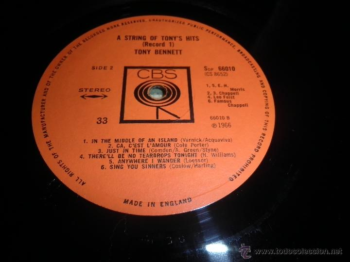 Discos de vinilo: TONY BENNETT - A STRING OF TONY´S HITS DOBLE LP - ORIGINAL INGLES CBS1966 STEREO - GATEFOLD COVER - - Foto 21 - 44054421