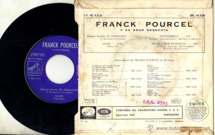 Discos de vinilo: MANUEL BENITEZ EL CORDOBES***FRANCK POURCEL Y SU GRAN ORQUESTA**SINGLE 1966 - Foto 2 - 44061114