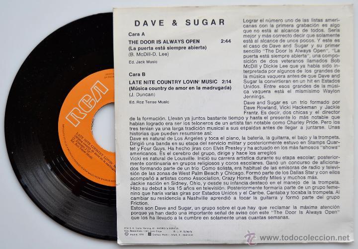 Discos de vinilo: DAVE & SUGAR-THE DOOR IS ALWAYS OPEN/LATE NITE COUNTRY LOVIN MUSIC-SINGLE-1976-RCA- SPÑ - Foto 2 - 44122221