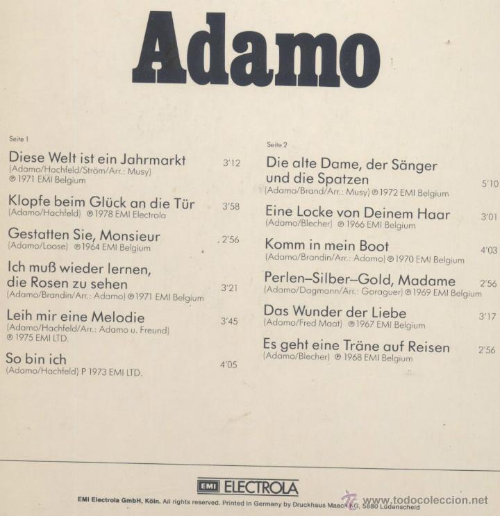 Discos de vinilo: ADAMO- EN ALEMAN - Foto 2 - 44164225