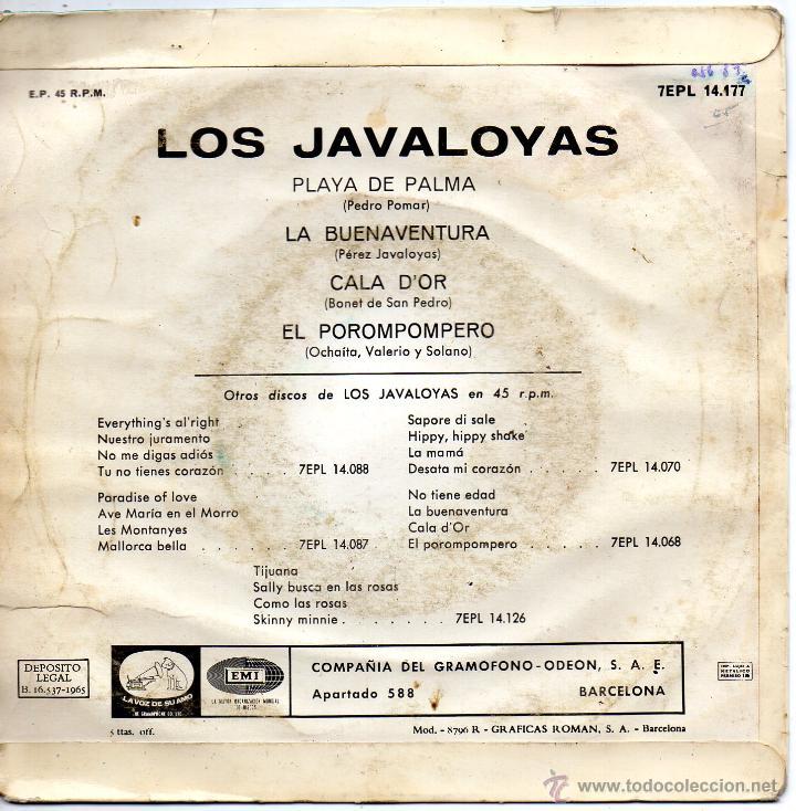 Discos de vinilo: JAVALOYAS, EP, EL POROMPOMPERO + 3, AÑO 1965 - Foto 2 - 44185552