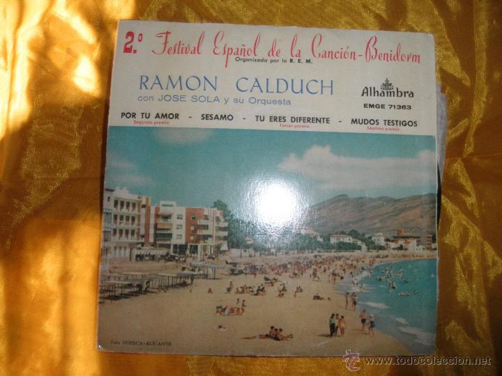 RAMON CALDUCH CON JOSE SOLA Y SU ORQUESTA. 2º FESTIVAL CANCION BENIDORM. ALHAMBRA 1960 (Música - Discos de Vinilo - EPs - Otros Festivales de la Canción)