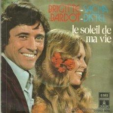 Discos de vinilo: BRIGITTE BARDOT Y SACHA DISTEL SINGLE SELLO EMI-ODEON AÑO 1973. Lote 44198801