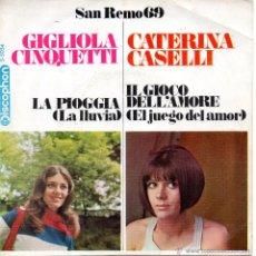 Discos de vinilo: GIGLIOLA CINQUETTI - FESTIVAL SAN REMO 1969, SG, LA PIOGGIA (LA LLUVIA) + 1, AÑO 1969. Lote 44222416