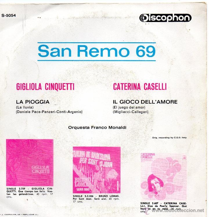 Discos de vinilo: GIGLIOLA CINQUETTI - FESTIVAL SAN REMO 1969, SG, LA PIOGGIA (LA LLUVIA) + 1, AÑO 1969 - Foto 2 - 44222416