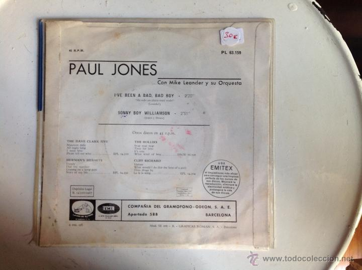 Discos de vinilo: PAUL JONES sg. I´ve been a bad, bad boy+ Sonny Boy Williamson - Foto 2 - 44225046