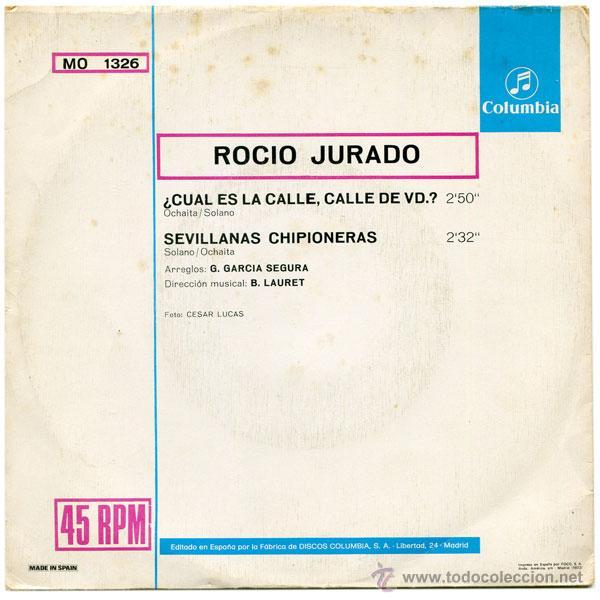 Discos de vinilo: ROCIO JURADO - ¿CUAL ES LA CALLE, CALLE DE VD.? - SN PROMO SPAIN 1973 - COLUMBIA MO 1326 - Foto 2 - 44240109