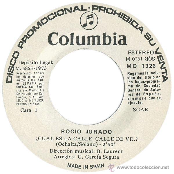 Discos de vinilo: ROCIO JURADO - ¿CUAL ES LA CALLE, CALLE DE VD.? - SN PROMO SPAIN 1973 - COLUMBIA MO 1326 - Foto 3 - 44240109