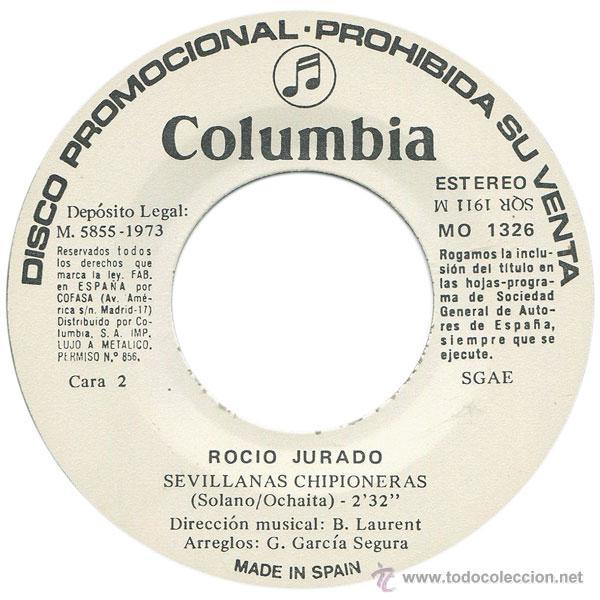 Discos de vinilo: ROCIO JURADO - ¿CUAL ES LA CALLE, CALLE DE VD.? - SN PROMO SPAIN 1973 - COLUMBIA MO 1326 - Foto 4 - 44240109