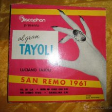 Discos de vinilo: LUCIANO TAJOLI. SAN REMO 1961. AL DI LA + 3. DISCOPHON 1961. Lote 44244035