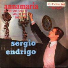 Discos de vinilo: SERGIO ENDRIGO - ANNAMARIA + IO CHE AMO SOLO TE + ARIA DI NEVE + BASTA COSI - EP (RCA, 1963) BRASIL. Lote 44277835