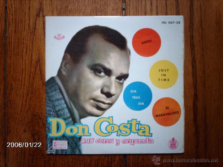 DON COSTA SUS COROS Y SU ORQUESTA - ADIOS + 3 (Música - Discos de Vinilo - EPs - Grupos y Solistas de latinoamérica)