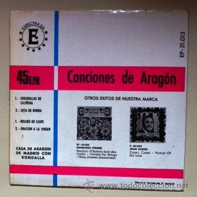 Discos de vinilo: CANCIONES DE ARAGÓN - CASA DE ARAGÓN DE MADRID - SEGUIDILLAS DE LECIÑENA, BOLERO DE CASPE... 1968 - Foto 2 - 44312482