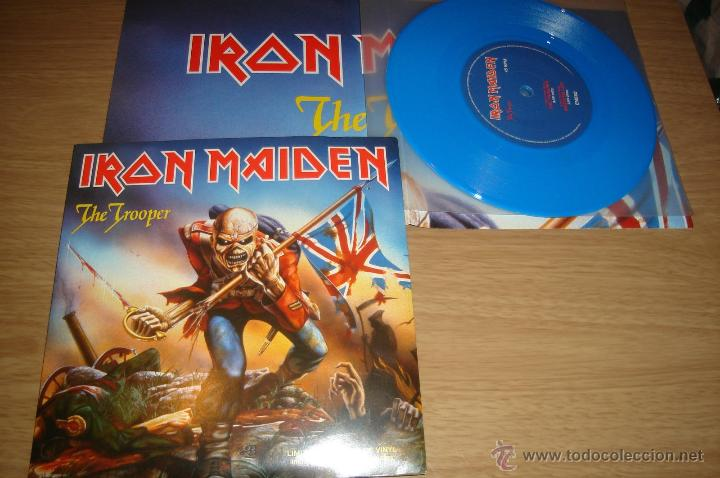 IRON MAIDEN THE TROOPER LIMITED EDITION BLUE VINYL INCLUDES DOUBLE SIDED POSTER Musica