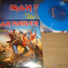 Discos de vinilo: IRON MAIDEN THE TROOPER LIMITED EDITION BLUE VINYL INCLUDES DOUBLE SIDED POSTER. Lote 44351104