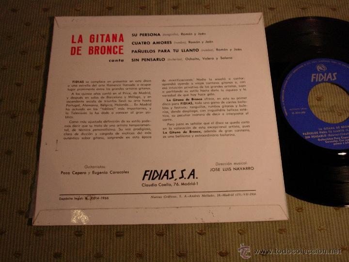 Discos de vinilo: la gitana de bronce su persona cuatro amores FIDIAS 1966 ep - Foto 2 - 44356269