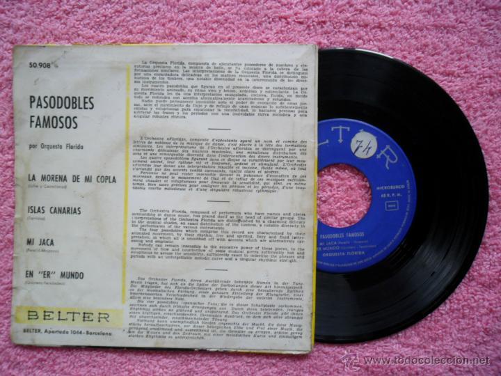 Discos de vinilo: pasodobles famosos la morena de mi copla orquesta florida 1961 belter 50908 disco vinilo - Foto 2 - 44423027