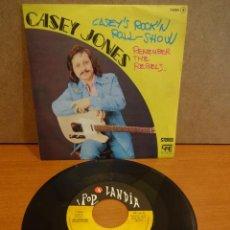 Discos de vinilo: CASEY JONES. CASEY'S ROCK'N ROLL-SHOW. SINGLE / POP LANDIA - PROMO - 1975. CALIDAD LUJO. ****/****. Lote 44432524