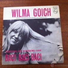 Discos de vinilo: WILMA GOICH - FESTIVAL SAN REMO 1969, SG, BACI, BACI, BACI + 1 , AÑO 1969. Lote 44435781