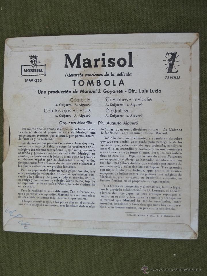 Discos de vinilo: MARISOL -CANCIONES DE LA PELICULA TOMBOLA. 1962. - Foto 2 - 44436184