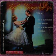 Discos de vinilo: VALSES VIENESES 3 VALS DE LOS PATINADORES 1958 BELTER 50178 ORQUESTA VIENESA JOHANN STRAUSS. Lote 44527305