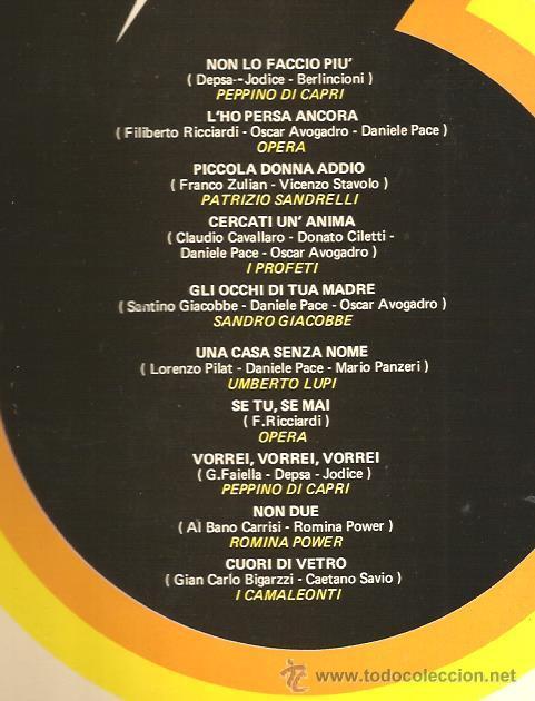 Discos de vinilo: LP FESTIVAL DE SAN REMO 76: PEPPINO DI CAPRI, I PROFETI, OPERA, ROMINA POWER, I CAMALEONTI, ETC - Foto 2 - 44528163