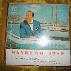 Discos de vinilo: AURELIO FIERRO. 9º FESTIVAL SAN REMO 1959. PIOVE + 3. EP. DURIUM 1959. Lote 44529472