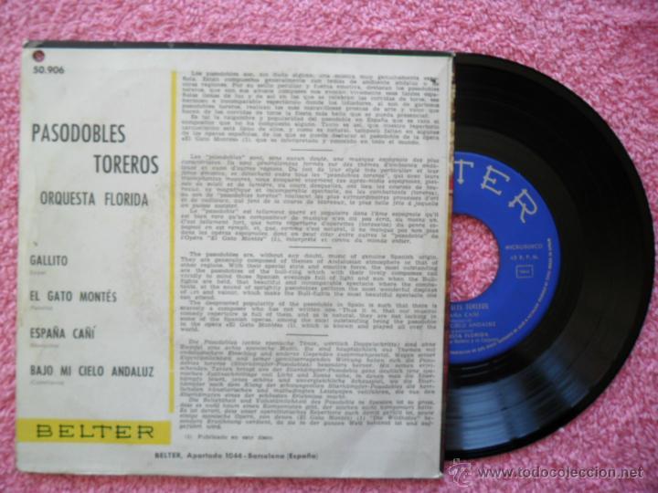 Discos de vinilo: pasodobles toreros 1960 belter 50906 gallito orquesta florida disco vinilo - Foto 2 - 44602205