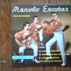 Discos de vinilo: MANOLO ESCOBAR - EL POROMPOMPERO + 3. Lote 44630012