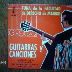 Discos de vinilo: TUNA DE LA FACULTAD DE DERECHO DE MADRID - GUITARRAS Y CANCIONES - VIRGEN DE AMOR + 3. Lote 44671709