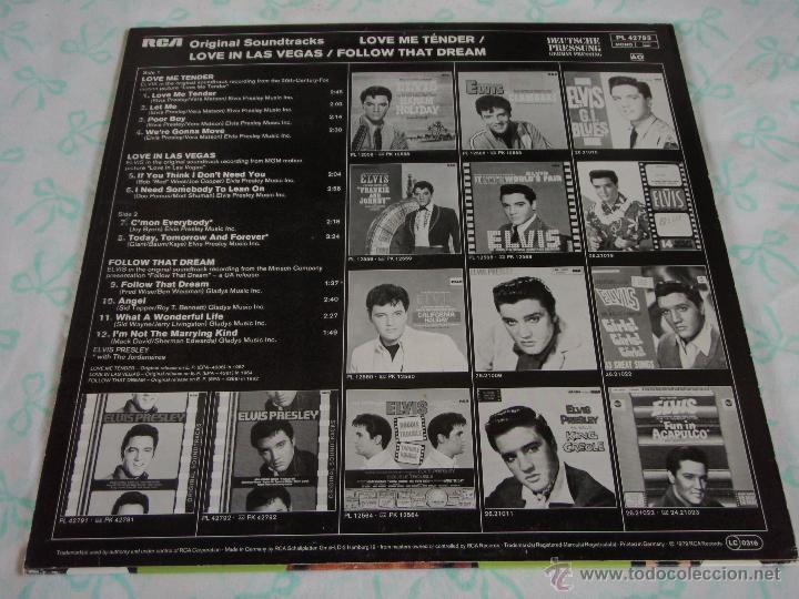 Discos de vinilo: ELVIS PRESLEY - LOVE ME TENDER / LOVE IN LAS VEGAS / FOLLOW THAT DREAM, GERMANY 1979 LP RCA - Foto 2 - 44691571
