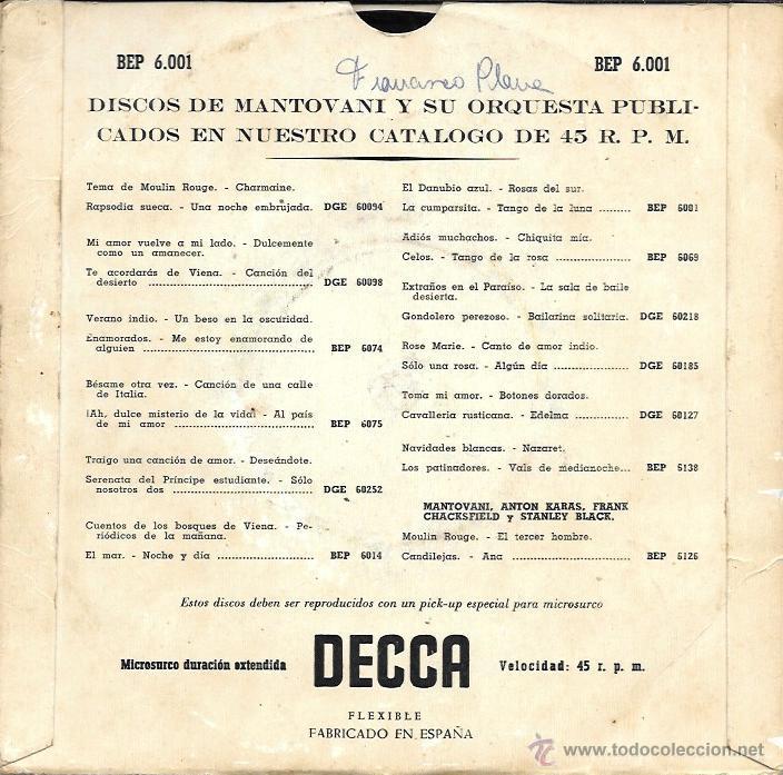 Discos de vinilo: Contraportada. - Foto 4 - 44701693