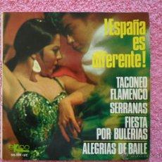Discos de vinilo: ESPAÑA ES DIFERENTE TACONEO FLAMENCO 1966 EKIPO 66109 ALFONSO Y MANUEL LABRADOR DISCO VINILO. Lote 44721624