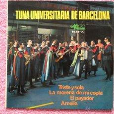 Discos de vinilo: TUNA UNIVERSITARIA DE BARCELONA 1967 EKIPO 66166 TRISTE Y SOLA DISCO VINILO. Lote 44737523