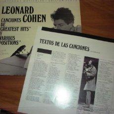 Discos de vinilo: LEONARD COHEN - LEYENDAS MUSICALES EDICION PLATA 1976. CON LIBRETO CANCIONES. Lote 44737595