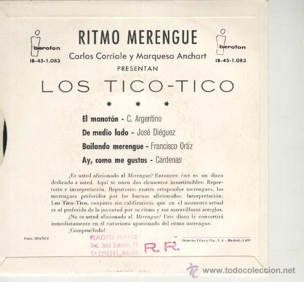 Ritmo merengue con los tico tico ep iberofon 19 - Sold