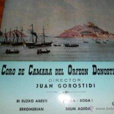 Discos de vinilo: CORO DE CAMARA DEL ORFEON DONOSTIARRA, BI EUZKO ABESTI / BOGA-BOGA / ERROMERIAN + 1, EP 1962. Lote 44806562