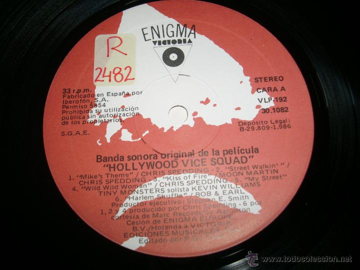 Discos de vinilo: HOLLYWOOD VICE SQUAD (1986 ENIGMA ESPAÑA) CHRIS SPEDDING BOB & EARL MOON MARTIN - Foto 4 - 44815614